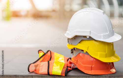 Fotografia safety first project of workman as engineer or worker or crew and insurance, business concept