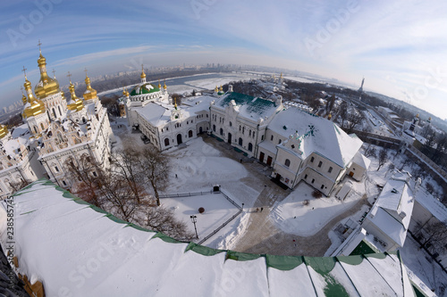 Photo  Winter view of the Kiev Monastery of the Caves and the Assumption cathedral on D