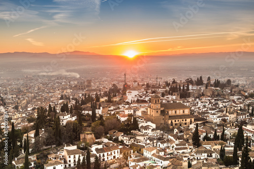 cityscape of granada by sunset in spain architecture