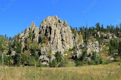 Dramatic Mountain Ridge on Little Devils Tower Trail in the Needles Section of Custer State Park, Black Hills, South Dakota