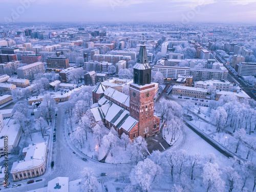 Aerial view of Turku Cathedral at winter Tableau sur Toile