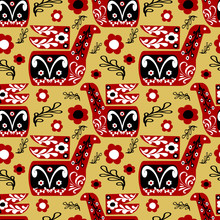 Red Folk Bird With Ornaments Of Black And White Colors On A Brown Color