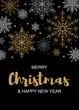 Vertical Merry Christmas and Happy New Year greeting card with beautiful golden and white snowflakes on black background. Christmas design for banners, posters, massages, announcements. Space for text