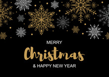 Horizontal Merry Christmas And Happy New Year Greeting Card With Beautiful Golden And White Snowflakes On Black Background.