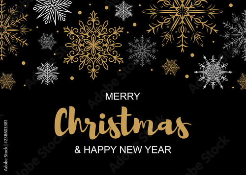 Fotografía  Horizontal Merry Christmas and Happy New Year greeting card with beautiful golden and white snowflakes on black background