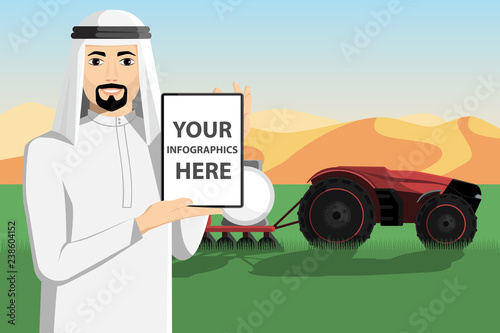 Etiqueta engomada - Arab farmer with a tablet computer controls autonomous tractor. White screen, you can add your infographic here.