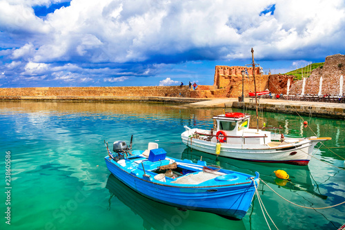 Travel in Crete island - old port of Chania. Greece