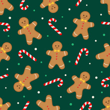 Gingerbread Man And Candy Cane Green Pattern