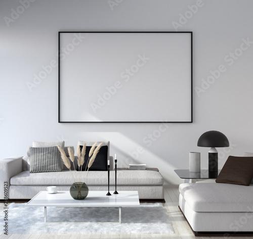 Obraz Mock up poster frame in home interior background, Modern style living room, 3D render - fototapety do salonu