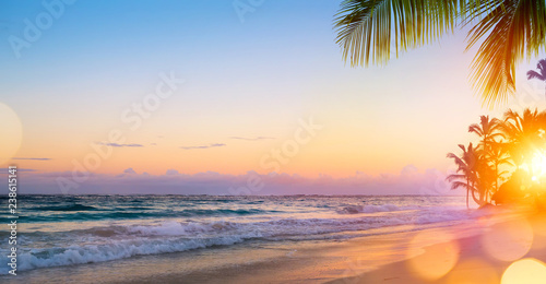 Photo Stands Caribbean Art Beautiful sunrise over the tropical beach