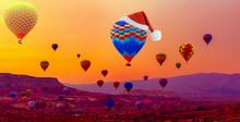 Santa Claus Red Hat On Hot Air Balloon