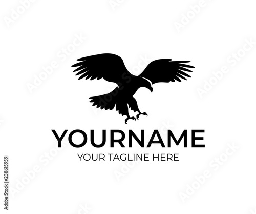 Flying eagle, bird and animal, logo design Fototapet