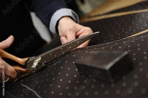 Fotografie, Obraz  Tessuto sartoriale artigianale, in lana o cotone, da lavoro di artigiano sarto i