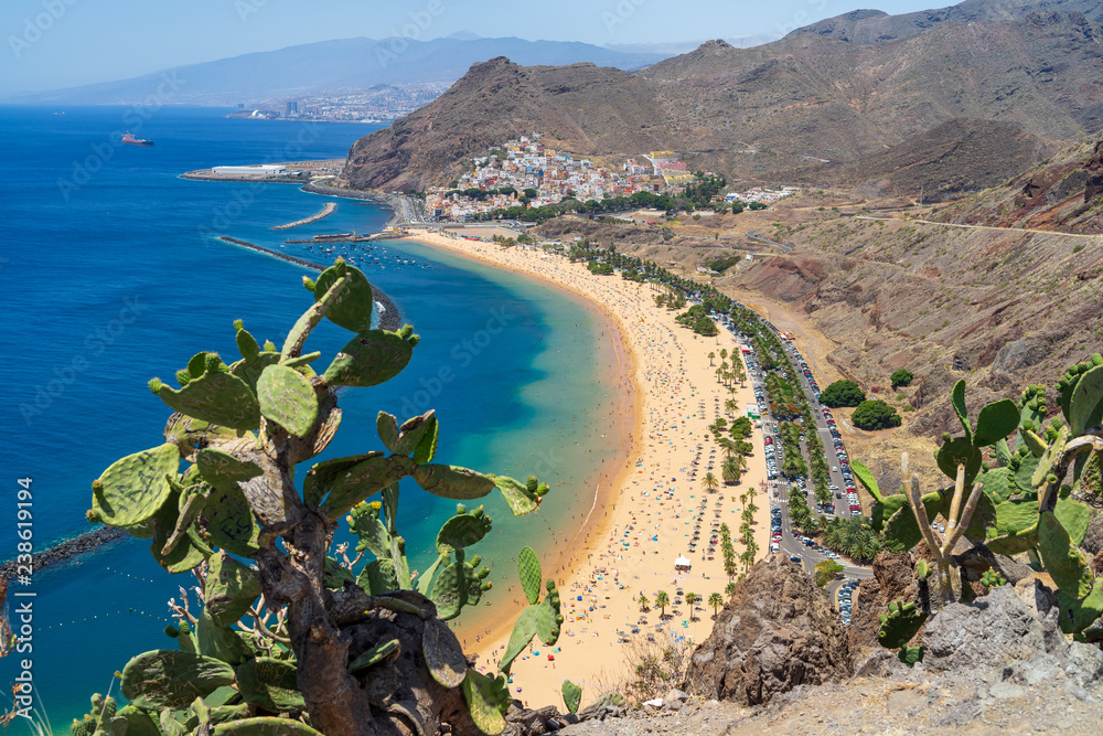 Fototapety, obrazy: The famous white sand beach Playa de Las Teresitas. Tenerife. Canary Islands. Spain. View from the observation deck - Mirador Las Teresitas.