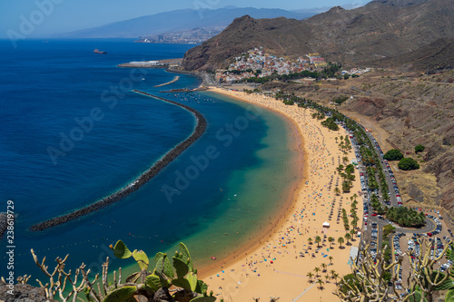 Poster Canary Islands The famous white sand beach Playa de Las Teresitas. Tenerife. Canary Islands. Spain. View from the observation deck - Mirador Las Teresitas.