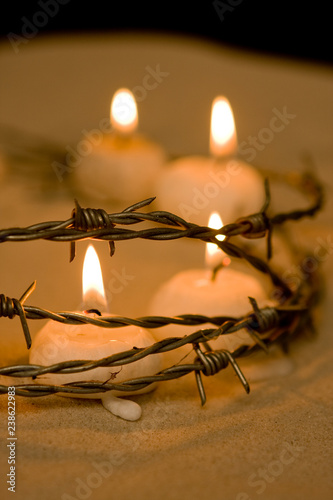 Fence and candles Wallpaper Mural