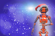 canvas print picture - Christmas robot wearing a Christmas hat