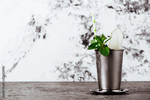 Valokuva  Cocktail Mint julep with ice isolated on white background