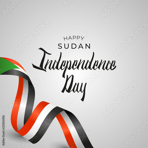 Fotografia, Obraz  Republic of the Sudan Independence Day Vector Template Design Illustration