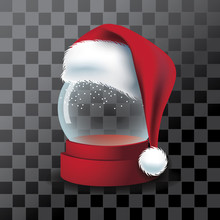 Transparent Snow Globe With Santa Claus Hat. Eps10 Vector Illustration.