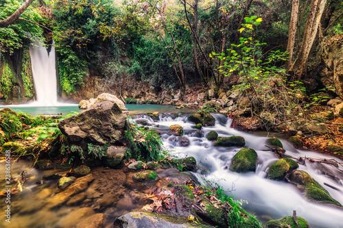 Poster Printemps Waterfall Banias landscape