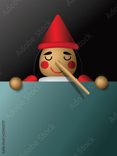 Photo Wooden boy with long nose from lying