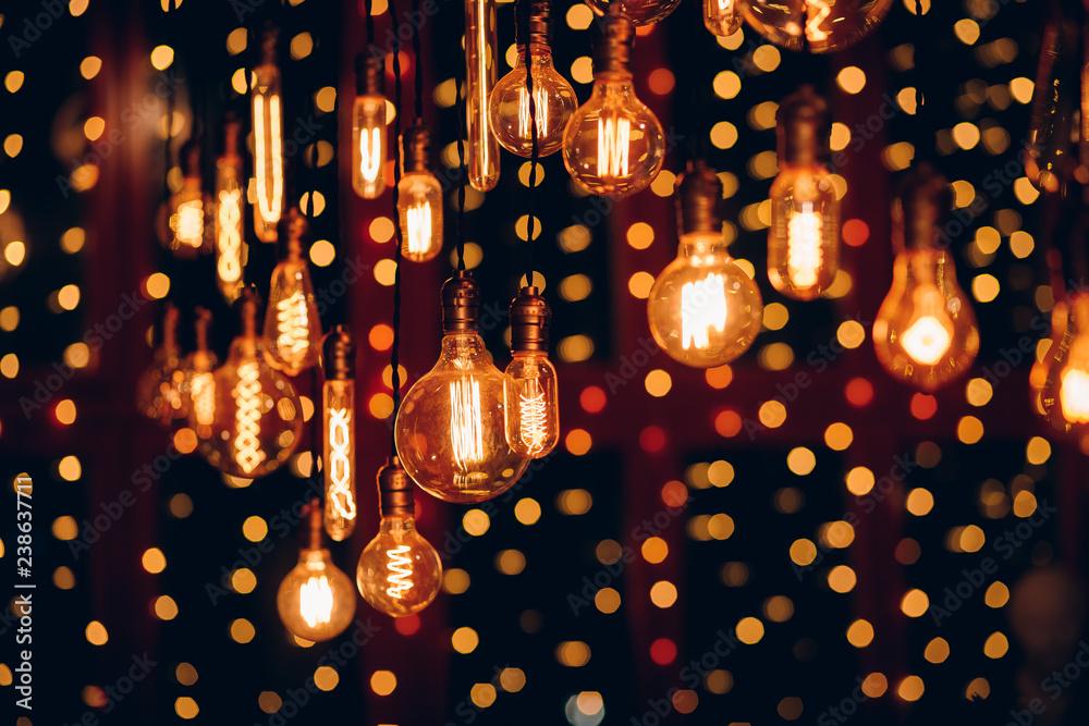Fototapety, obrazy: Set edison retro lamp on dark bokeh background