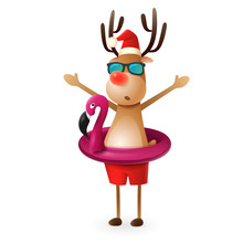 Reindeer With Flamingo Swim Ring - Summer Christmas Vector Illustration Isolated On White Background