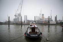 Hamburg Tugboat In Fog