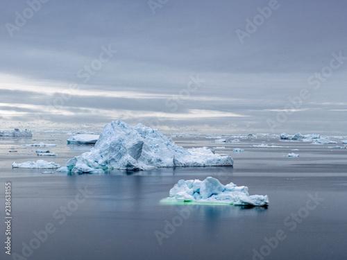 The glaciers are melting on arctic ocean in Greenland  Big glaciers