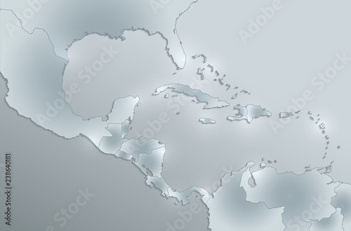 Caribbean islands Central America map, state names, separate ...