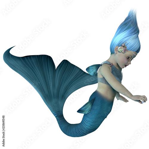 Foto op Plexiglas Zeemeermin Mermaid Baby with Pearl - A cute illustration of an infant mermaid holding a sea pearl.