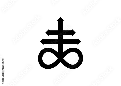 Leviathan Cross alchemical symbol for sulphur, associated with the fire and brimstone of Hell Fototapeta