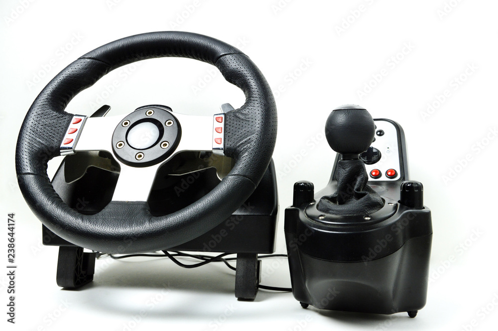 Photo & Art Print A racing wheel for the racing video games and