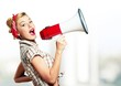 canvas print picture Portrait of woman holding megaphone, dressed in pin-up style