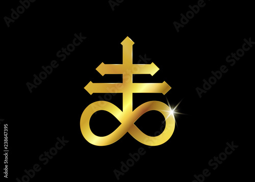 Fotomural Gold Leviathan Cross alchemical symbol for sulphur, associated with the fire and brimstone of Hell
