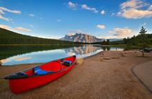 Beautiful Sunset Over Two Jack Lake , Banff National Park, Alberta, Canada