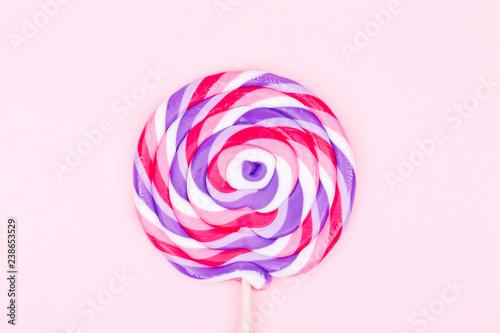 Fotografie, Obraz  Big lollipop on solid pink background