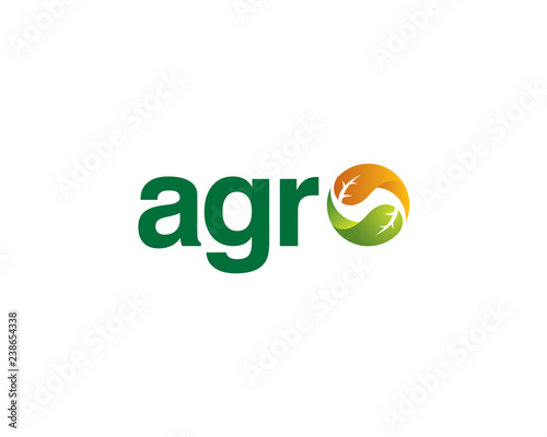 Photo wordmark agro with balanced leaves