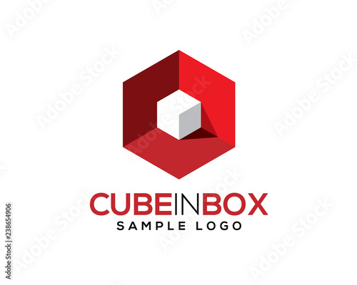 white 3D 3 Dimensional cube inside red hexagon box with light and shadow Poster Mural XXL