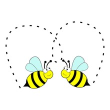 Cute Two Bee In Love Vector