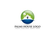 Circle Emblem Logo About Beach Real Estate With White House And Coconut Tree Behind