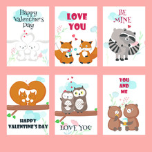Vector Set Of Cards With Cute Animals Couples
