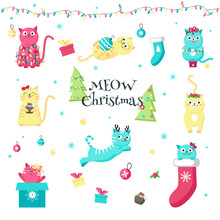 Cute Funny Christmas Cats Vector Isolated Illustration