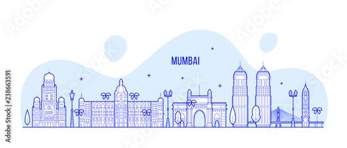 Fototapeta premium Mumbai skyline Maharashtra India city vector line