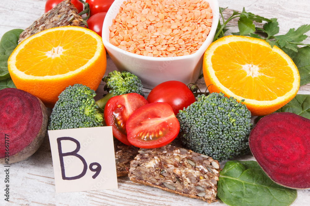 Fototapeta Nutritious products containing vitamin B9 and dietary fiber, healthy nutrition concept