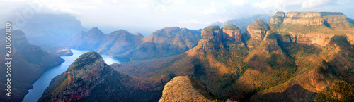 Acrylic Prints Africa Blyde River Canyon blue lake, Three Rondavels and God's Window, Drakensberg Mountains national park panorana on beautiful sunset light background, top view, South Africa, Mpumalanga Province