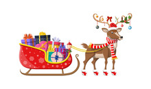 Santa Claus Sleigh Full Of Gifts And His Reindeer.