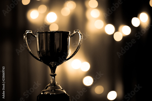 Obraz Gold Trophy competition in the dark on the abstract blurred light background with copy space, Spectacular success Concept - fototapety do salonu