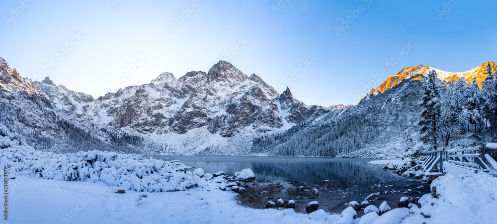 Fototapety, obrazy: Morskie oko lake in winter Tatra mountains